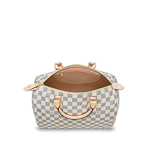 / classic ladies white checkerboard Speedy30 handbag canvas / with leather n41370