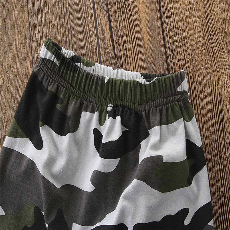 2PCS Baby Boys Sets Toddler Kids Baby Boys Short Sleeve Letter T-shirt Tops+Camouflage Pants Set Baby Boy Clothes M8Y18 (2)