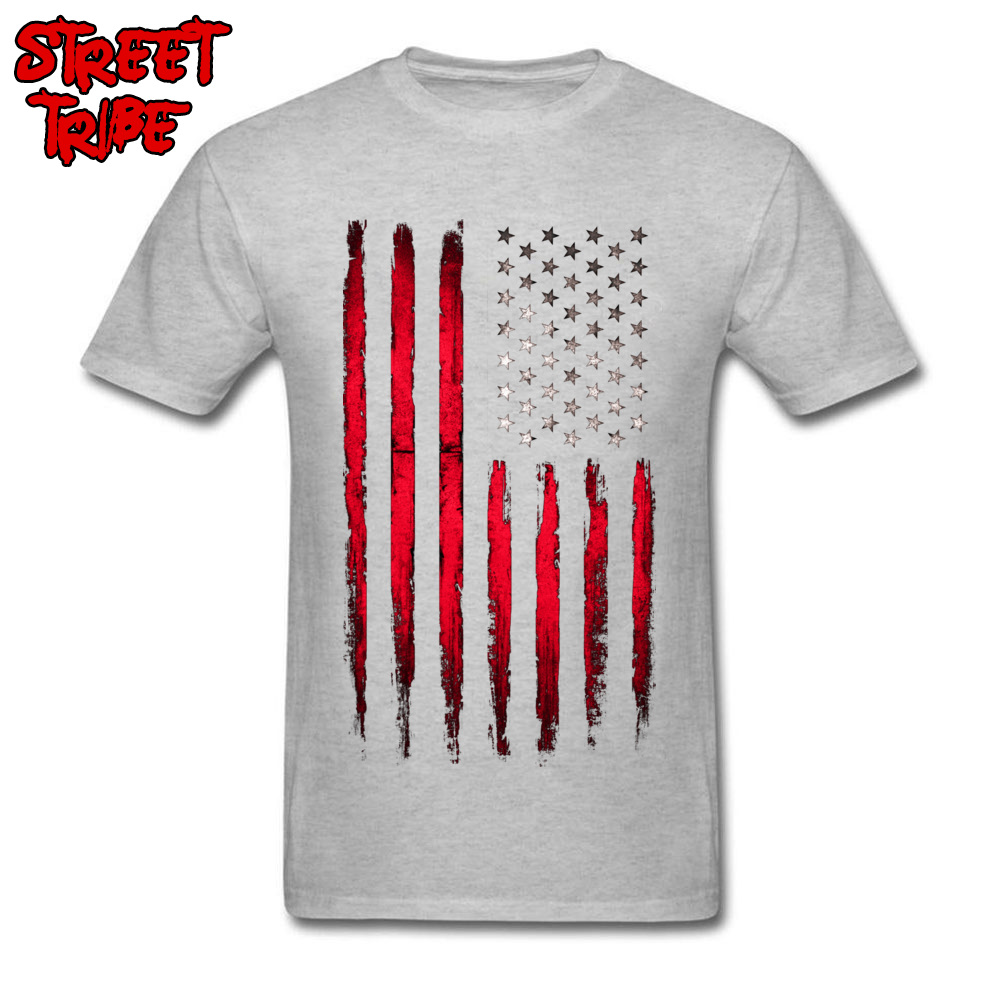 Brand New Boy T-shirts Crewneck Short Sleeve Cotton Fabric Camisa Tops Tees Custom Tops T Shirt Wholesale American stars and stripes flag Grunge grey