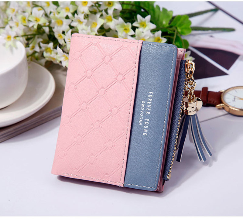 Women Wallet Female Short Paragraph Coin Purse Color Wallet Women Small Fold Wallets Tassel Zipper Button Bag Credit Card Holder (17)