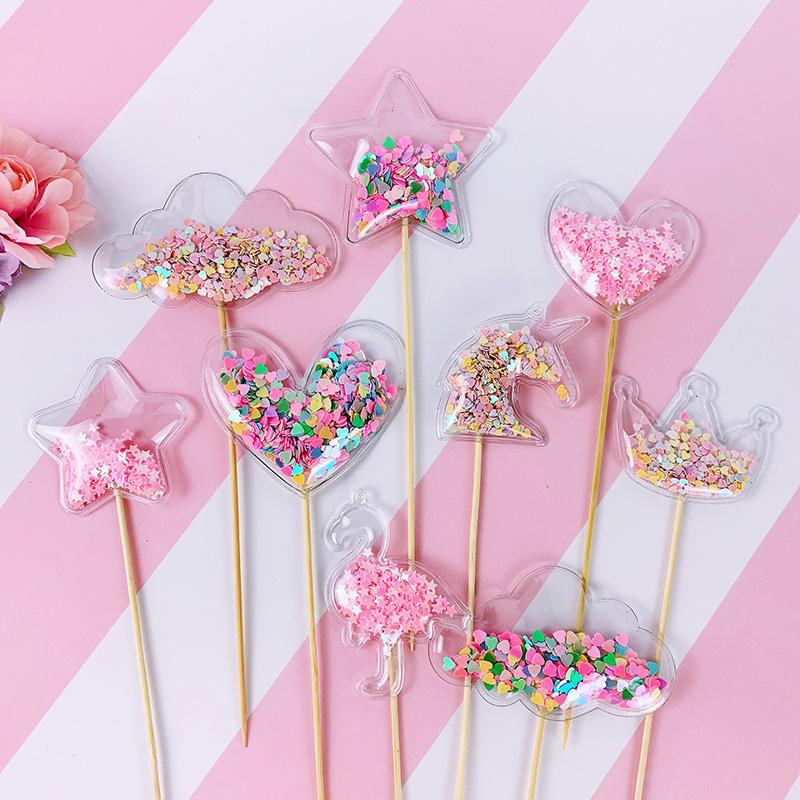 decoraci/ón de g/énero para baby shower decoraci/ón de pasteles 48 piezas de decoraci/ón para cupcakes con purpurina para revelar alimentos