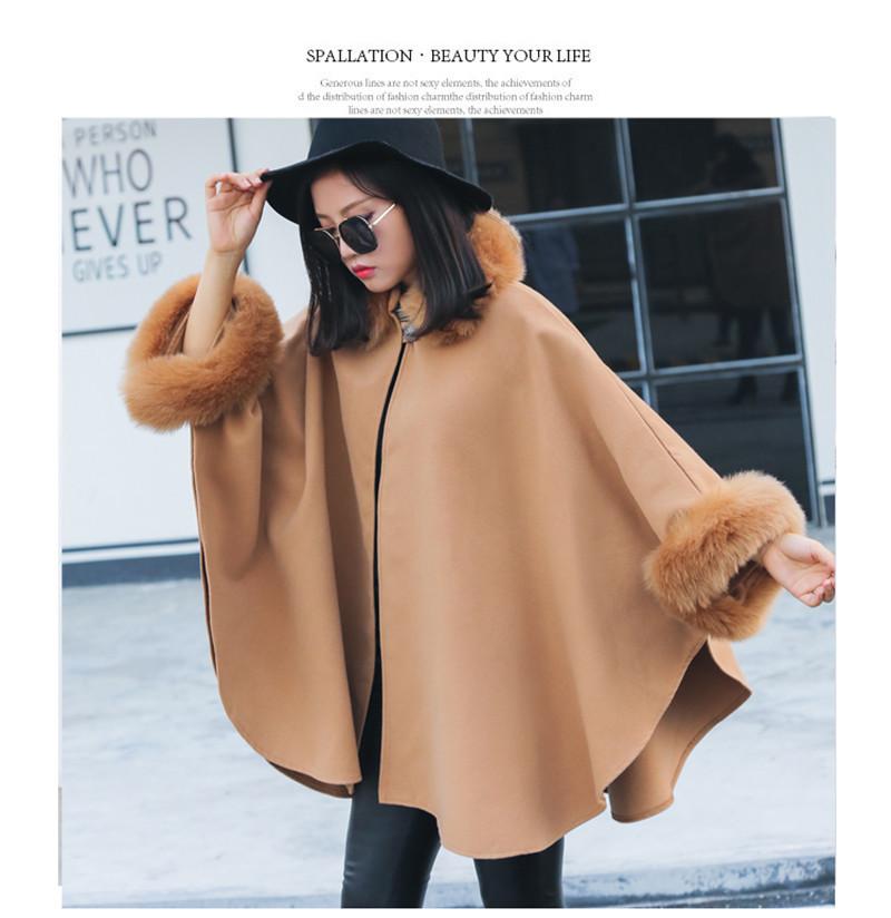 faux fur collar cloak style wool blend outerwear-9