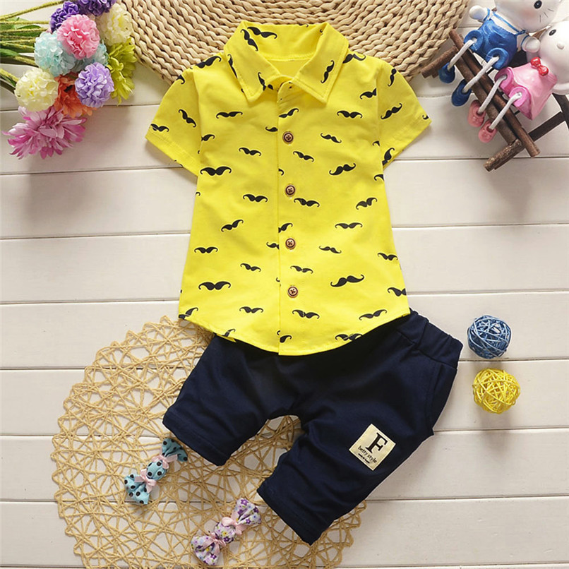 2PCS Baby Clothes Toddler Kids Baby Boys Short Sleeve Beard Print T-Shirt Tops+Letter Shorts Pants Set Boy Sets Clothes M8Y30#F (2)