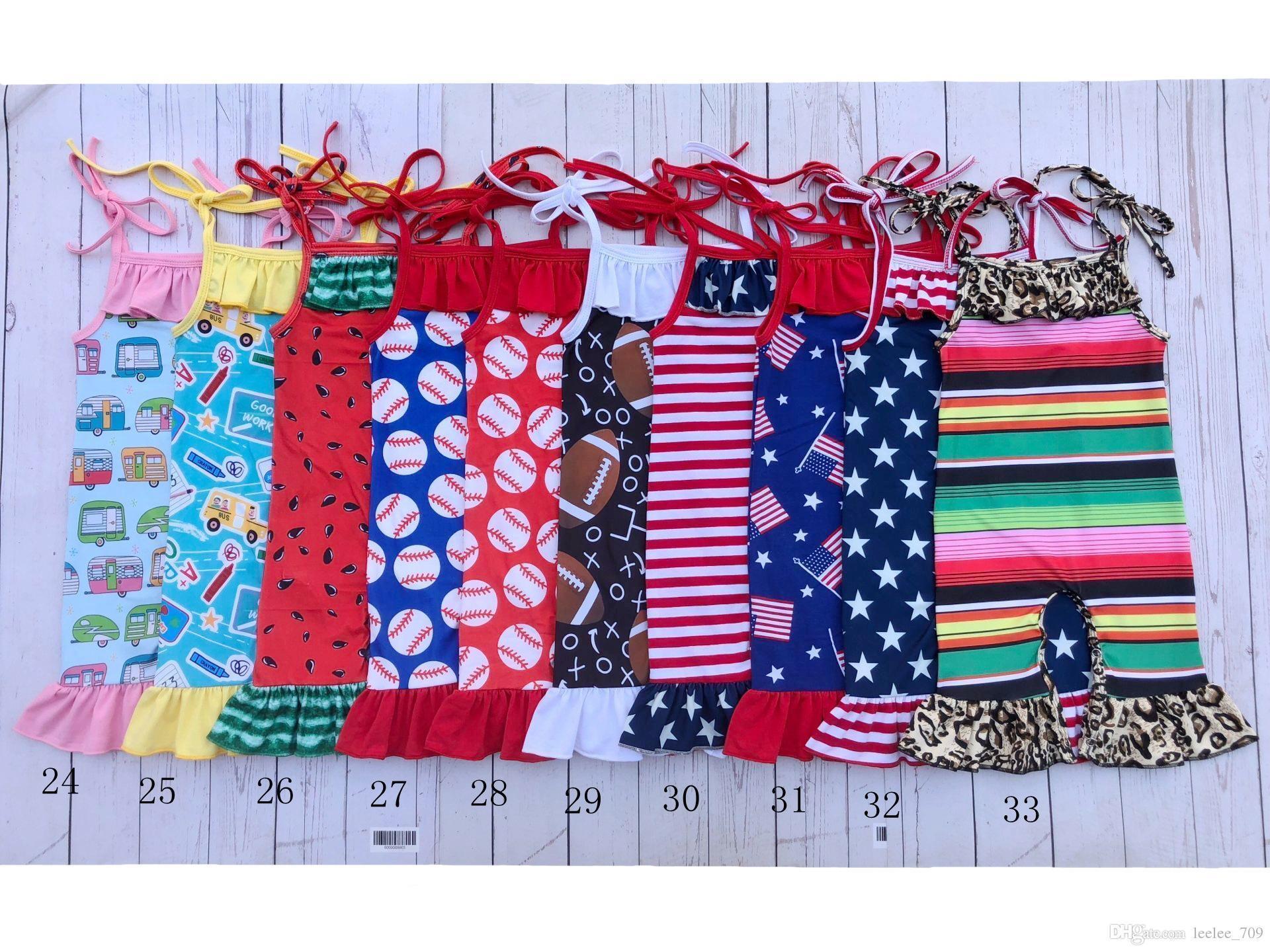 0-2t Bebê Verão Macacão Infantil Menina Unicórnio Melancia Design de Basebol Capris Criança Tie Strap Romper 33styles