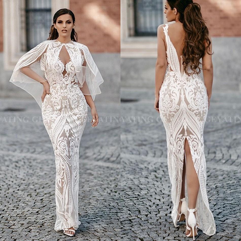 2020 elegante arabisch weiß abendkleider mit cape sexy v-ausschnitt  backless schlitz zurück sequin knöchel-längen-abschlussball-kleider