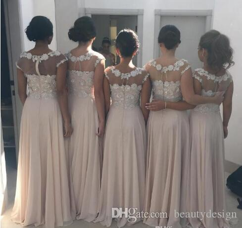 Sheer Neck Lace 2017 Arabic Bridesmaid Dresses Cap Sleeves Beaded A-line Chiffon Maid Of Honor Dresses Cheap Formal Party Gowns