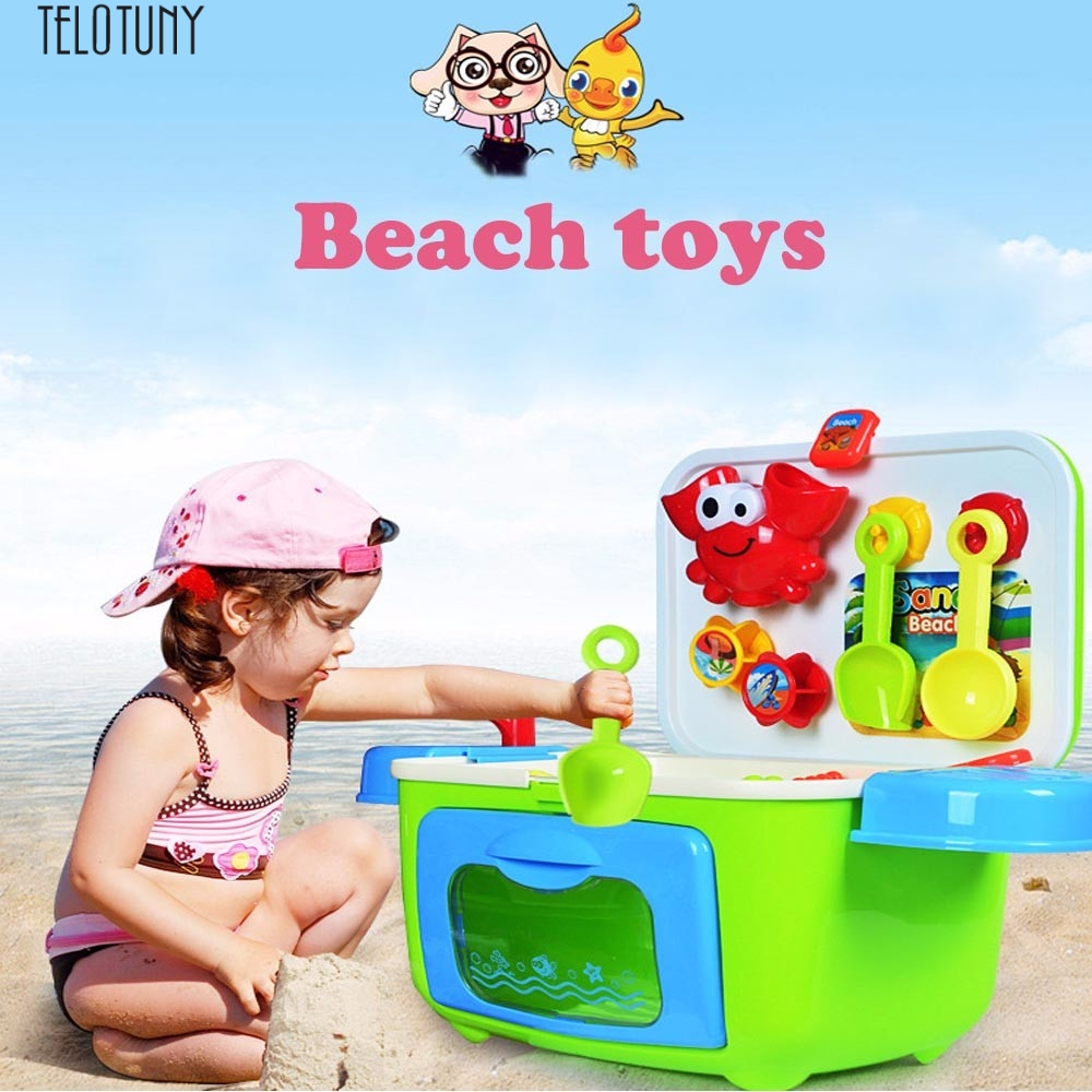 TELOTUNY baby beach Sand toys set kids Sandbeach Beach Toys Bucket Spade Shovel Rake Water Tools Storage Box Z0125