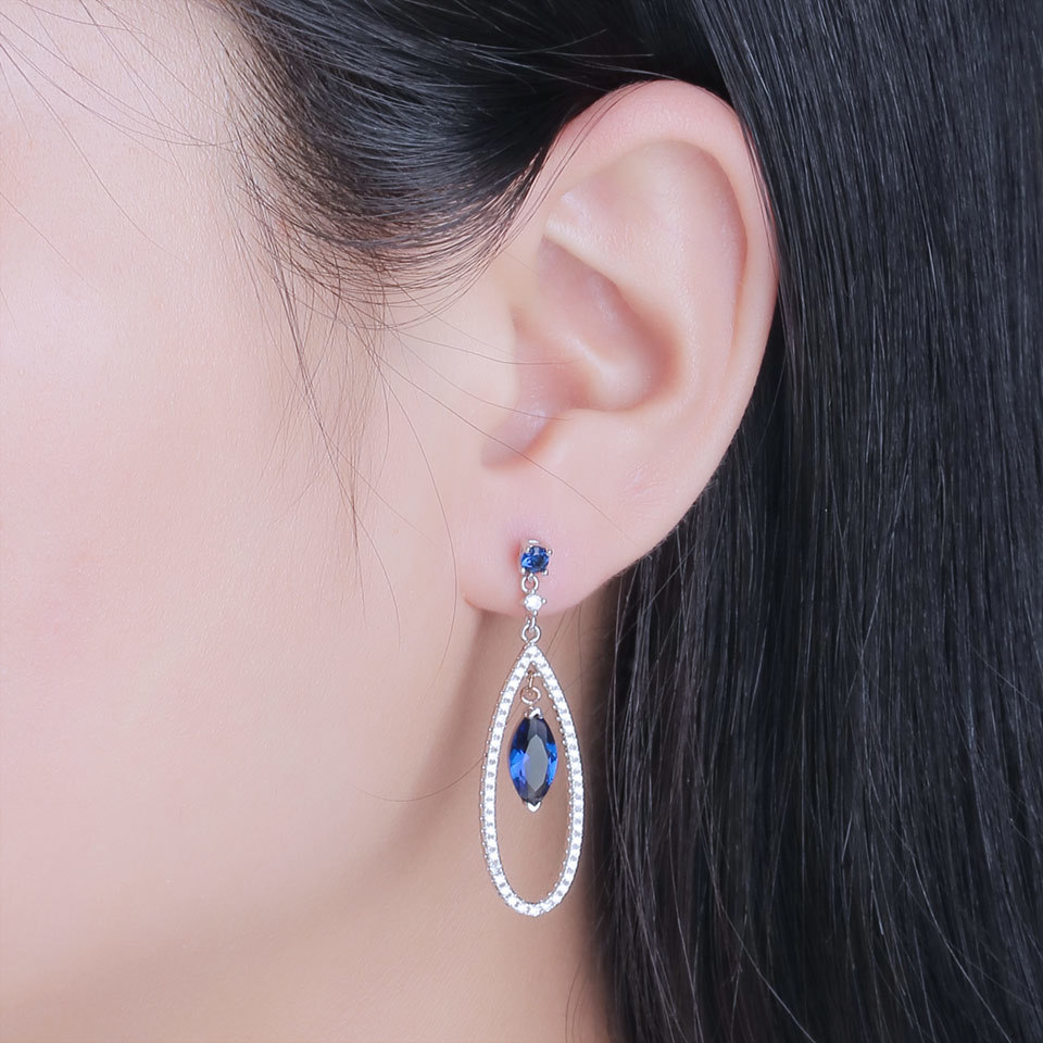 UMCHO Sapphire 925 sterling silver jewelry set for women S021S-1 (10)