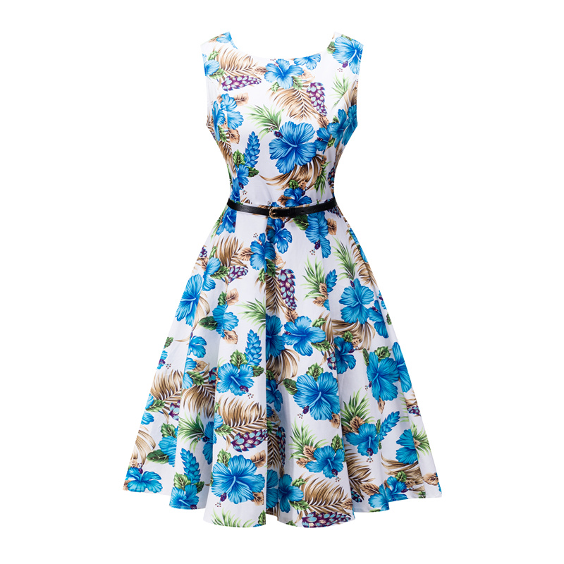 Kostlish 2017 New Summer Dress Women Floral Print Audrey Hepburn 50s 60s A-Line Vintage Dress Sleeveless Party Dresses Plus Size (80)