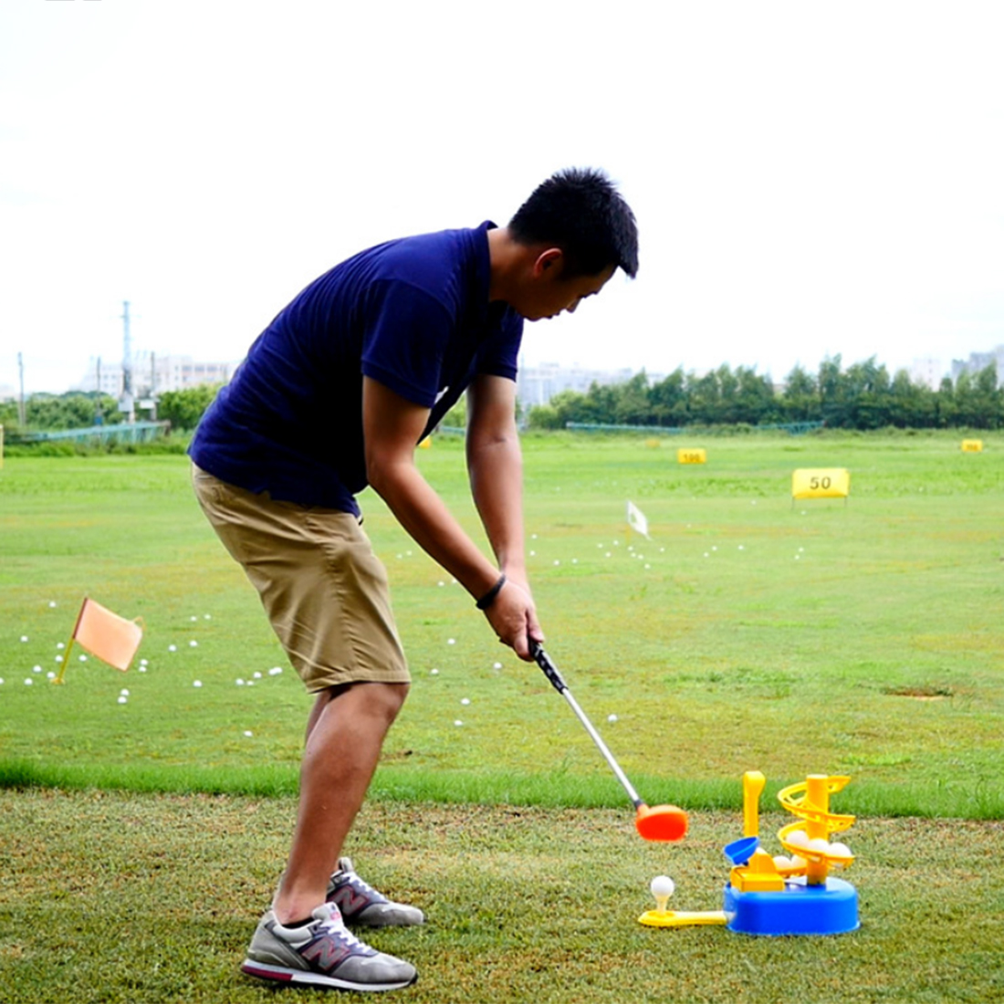 2019 New Arrival Kids Fun QC101 Golf Practice Trainer Machine Interesting Outdoor Sports Gift Toys for Children - Red/Yellow