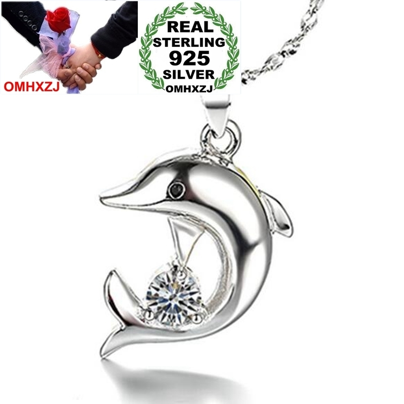 OMHXZJ Wholesale Animal Fashion Dolphin Woman Man Child Gift Zircon 925 Sterling Silver Pendant Charms PE102 NO Chain Necklace