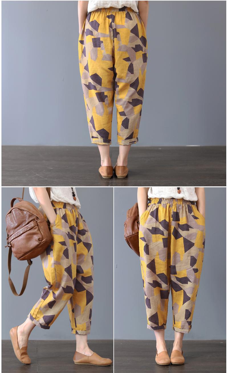 Plus Size 4XL Cotton Linen Harem Pants Trousers Women Vintage Print Slim Casual Elastic High Waist Cargo Radish Pants Women 20193