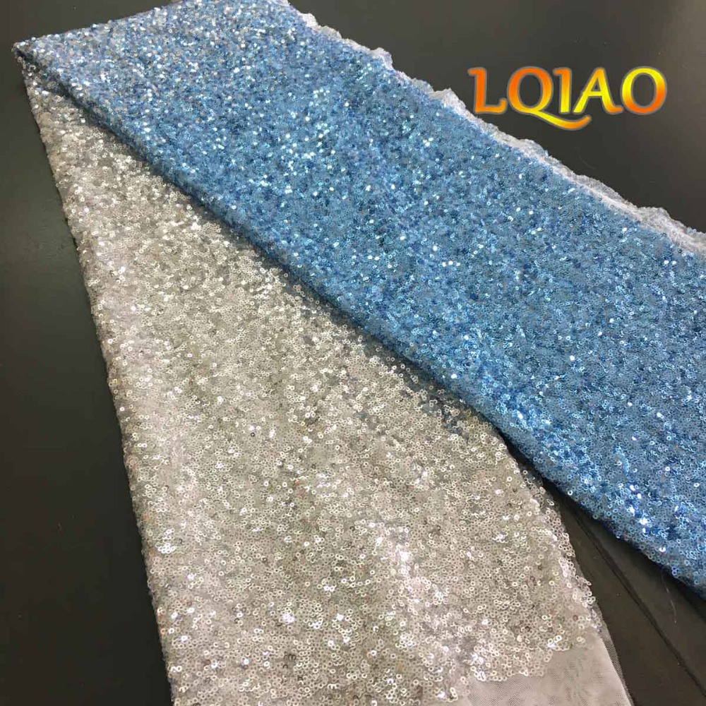 Turquoise Gold Sequin Fabric-01