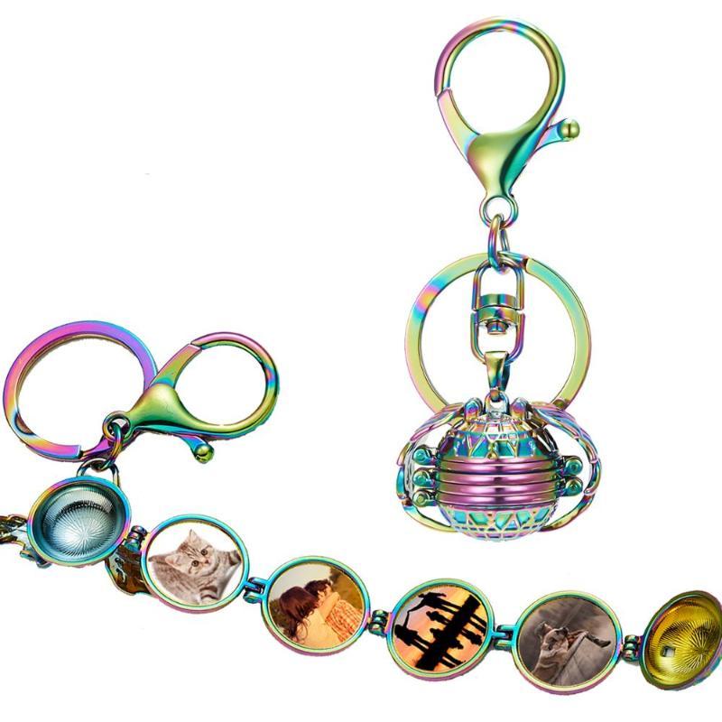 Magic Memory Floating Locket Keyring  Chic Angel Wings Keychain Box keyholder UK