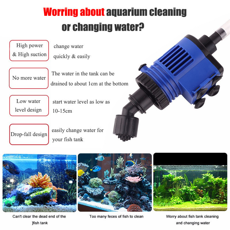 Automatic Aquarium Water Changer Clean Vacuum Water Change Gravel Pump Fish Feces Siphon Sand Washer Filter Fish Tank Cleaner01