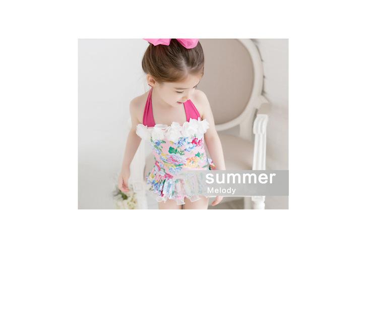 2pcs Baby Girls Swimwear Kids Swimming Bikinis Siamese skirt type swimsuit one piece lace sweet Bathing Suit Swimsuit with Cap (7)