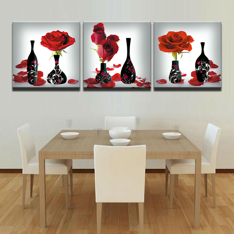 Modern-Painting-Decor-On-Canvas-Wall-Art-Modern-Living-Room-Painting-3-Panel-Red-Roses-Flower
