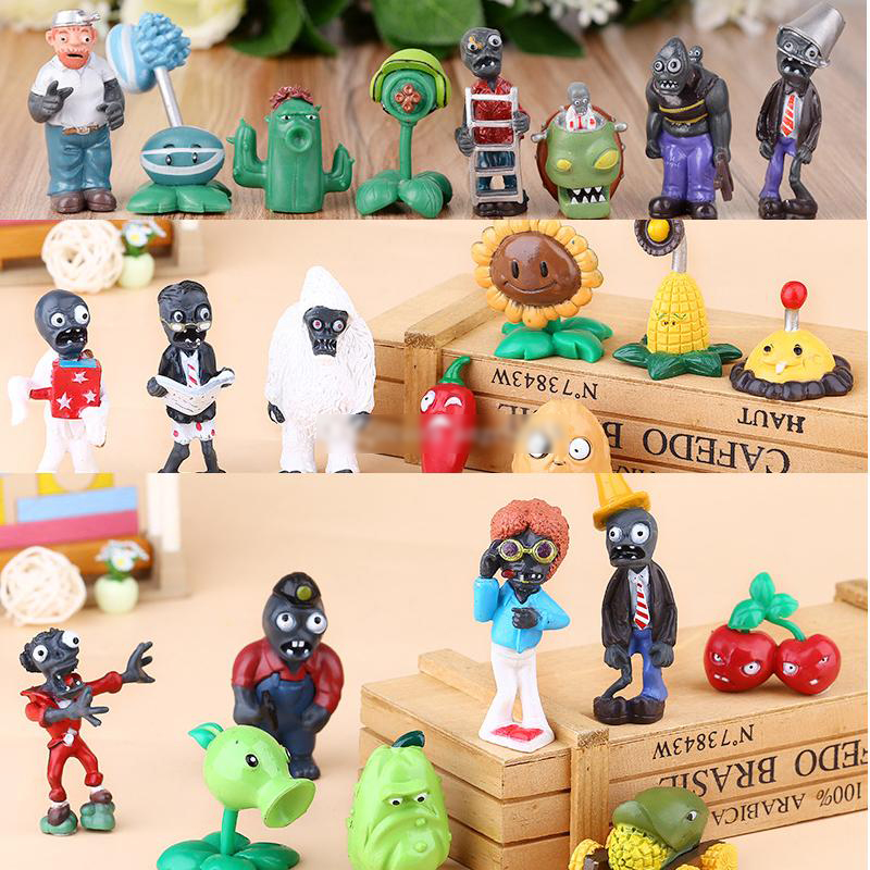 8pcs//set Plants vs Zombies Figures PVC Toy Cake Toppers Gift For Kids 4-6CM