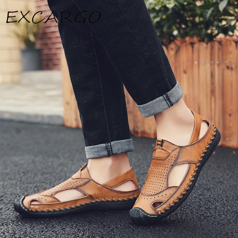 2019 Hommes Véritable Cuir En Cuir D/'été Chaussures Plage Vacances Loisirs Sandales 38-46