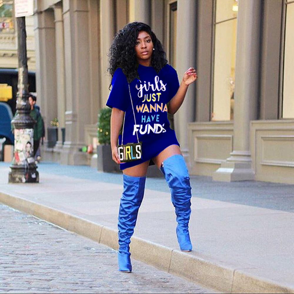 2019 летняя женская мода шею с длинным рукавом мультфильм письмо печатных свободную тунику с длинным рубашка повседневные с короткими рукавами платья Bodycon