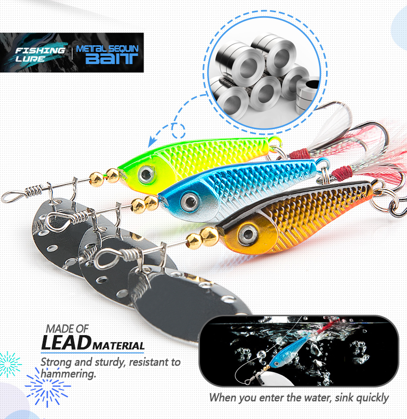 DONQL Spinner Metal Spoon Fishing Lure 13g 16g Sequin Artificial Wobbler Fishing Bait With Strong Treble Hooks Mepps Lures (1)