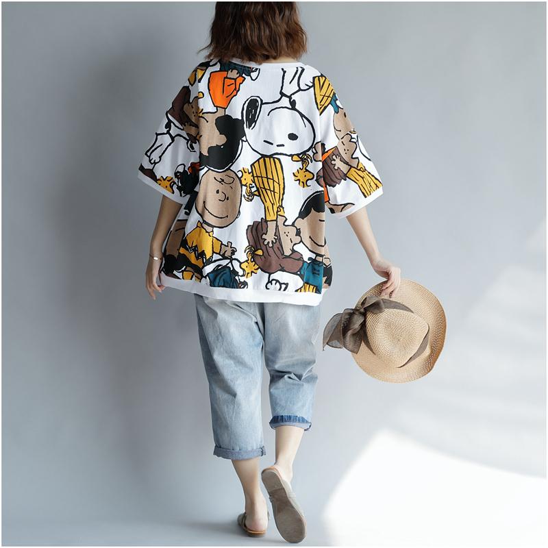 Kawaii T-shirt Cotton Women Tshirt 2019 Summer Print Plus Size Cartoon T Shirt Korean Shirts Tops 4xl 5xl 6xl With Gog Prints Y190513