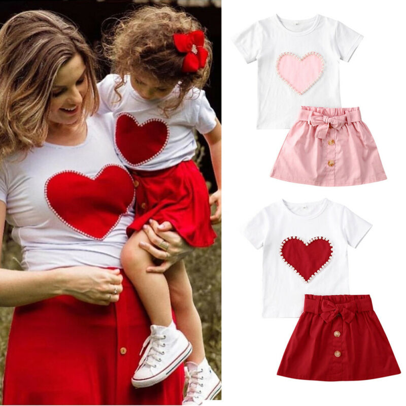 Toddler Kids Baby Girl Outfit Clothes Letter T-shirt+Cherry Pleated Skirt Set US