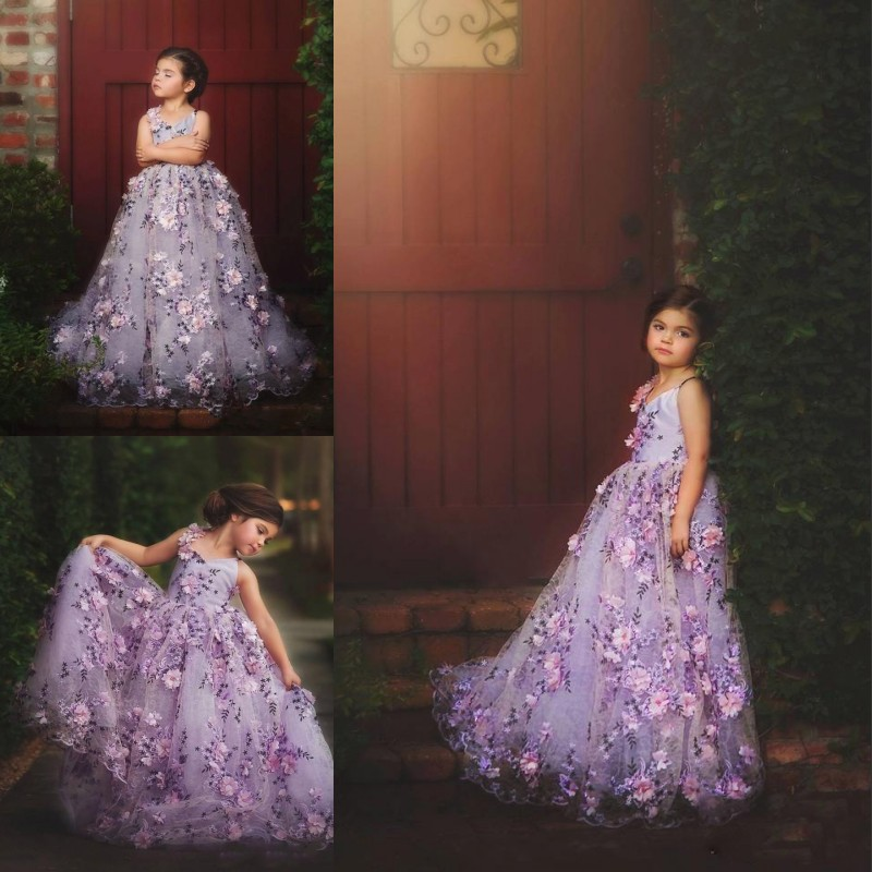 Lilac Lavendar Spaghetti Straps Easter Party Picture Wedding Flower Girl Dress