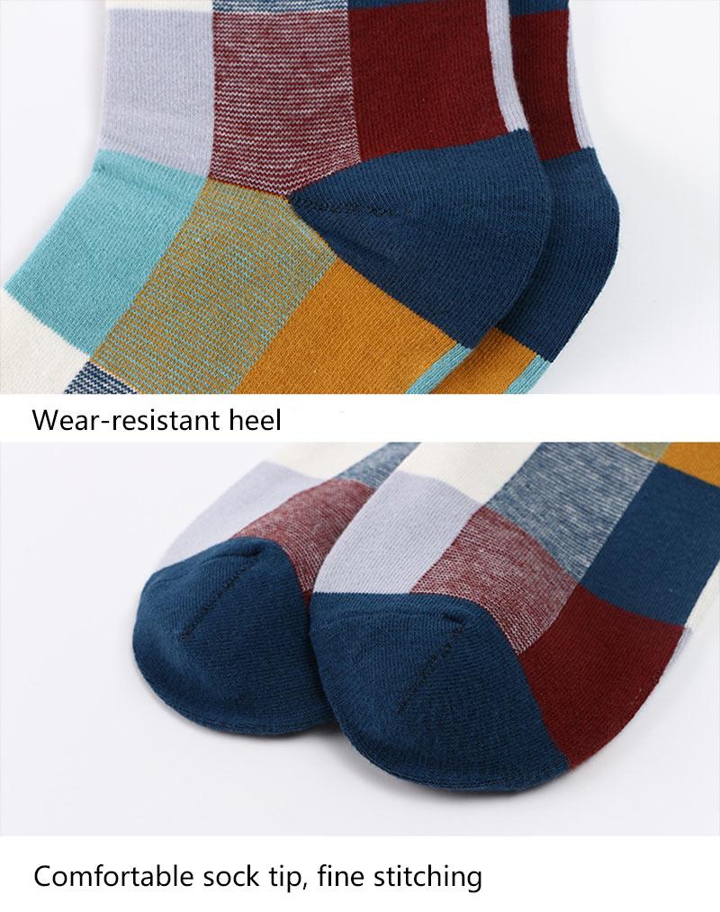 5PairLot Men\`S Socks Combed Cotton Autumn Winter Fashion Colorful Square Socks Men Harajuku Personality Breathable Crew Socks (3)