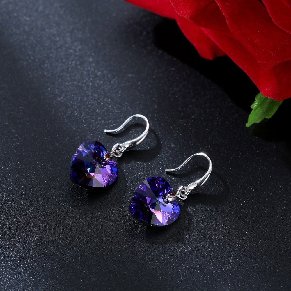 Hel love heart crystal earring stone from Swarovski for fashion girls