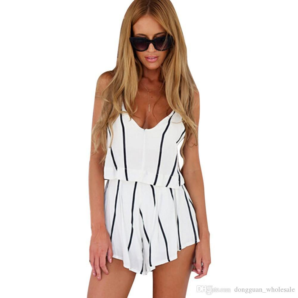 Summer Jumpsuit Women Mono V Neck White Jumpsuit For Women Striped Rompers Sexy Playsuits Bodycon Jumpsuit Combishort B Nice