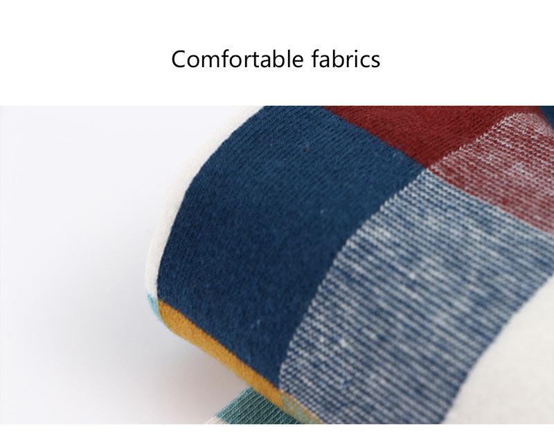 5PairLot Men\`S Socks Combed Cotton Autumn Winter Fashion Colorful Square Socks Men Harajuku Personality Breathable Crew Socks (7)