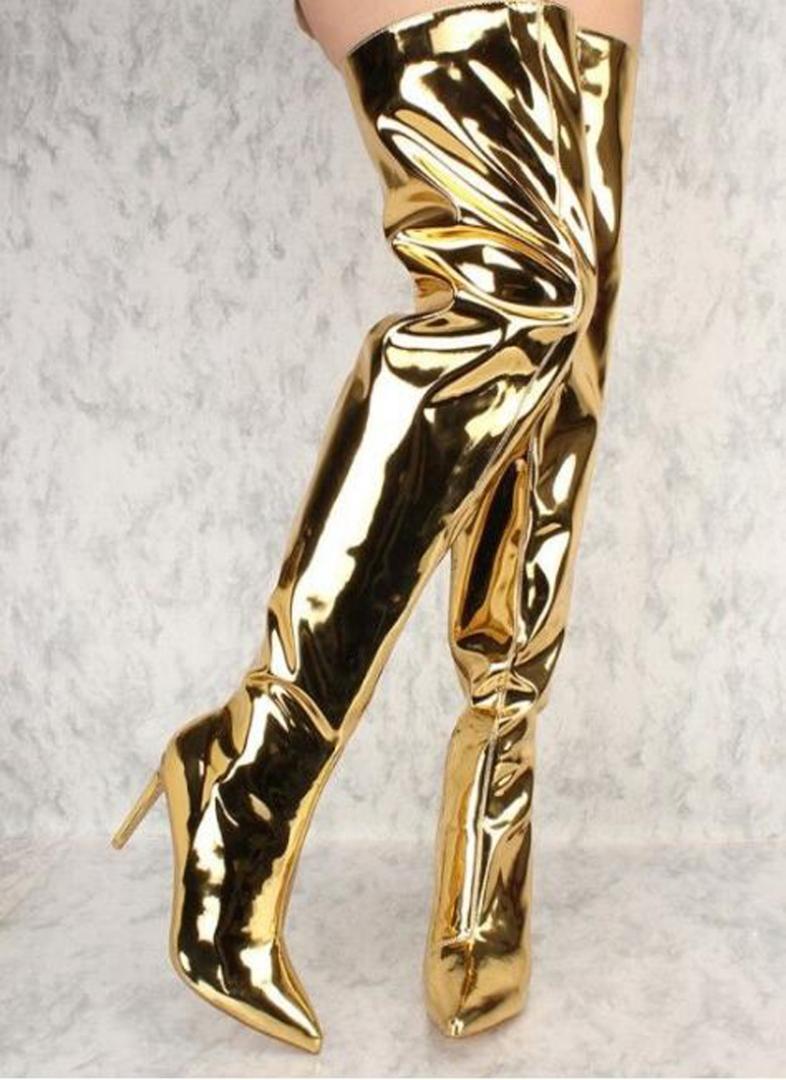 Femme Métallique Miroir bout pointu Cuisse Talon Haut Dessus Genou haut Bottes Chaussures