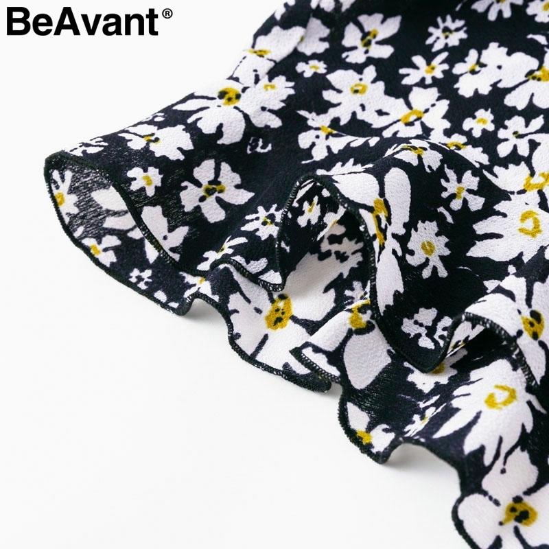 Beavant Floral Print Ruffle Boho Women Rompers One Shoulder Strap Female Jumpsuit Short Beach Summer Playsuit Overalls C19040402