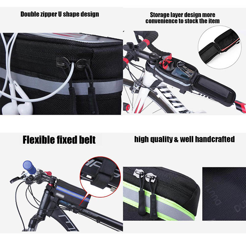 Bicycle Phone Bag Case Touch Screen Waterproof Bike Frame Front Tube Storage Bag Pouch Case for iPhone Samsung 3.5-6 inch Phones (9)