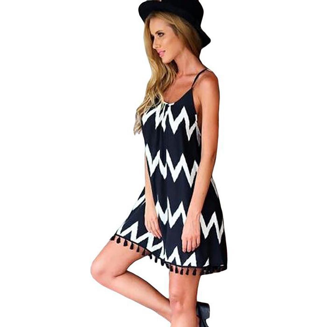 Vestido de moda de mujer Rayas Causal Vestido suelto de gasa Sling Moda de mujer Vestido informal