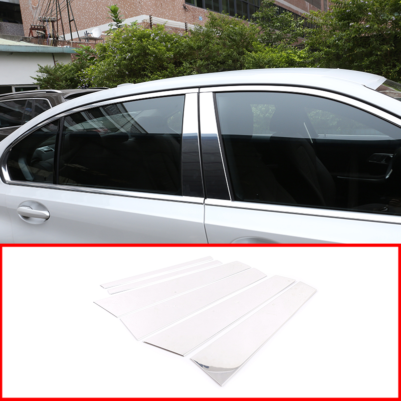 For 06~11 BMW E90 3-Series Sedan Carbon Fiber Door Trim Pillar Panel Posts 6pcs