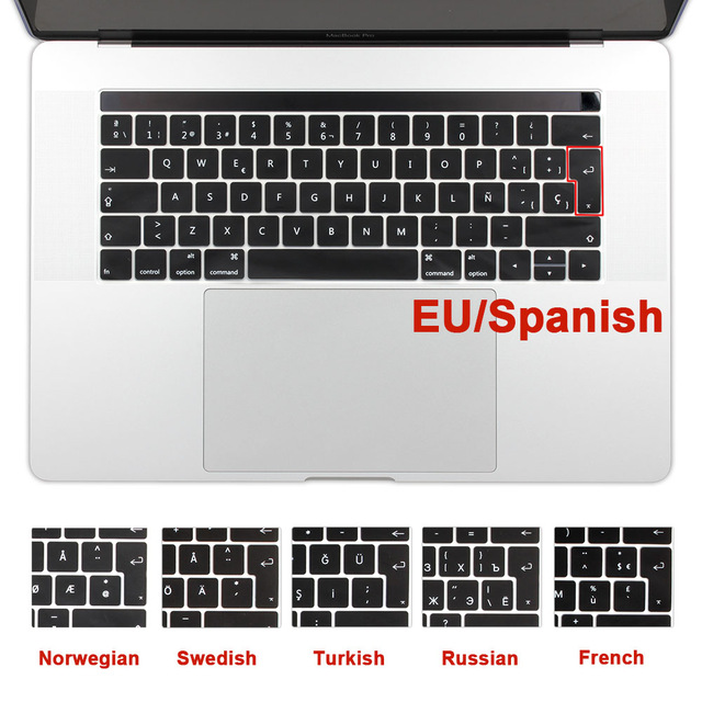 EU//US Silicon for MacBook Pro 13 15 CD ROM Keyboard Cover Silicon English for MacBook Pro 13 15 Keyboard Cover-EU White