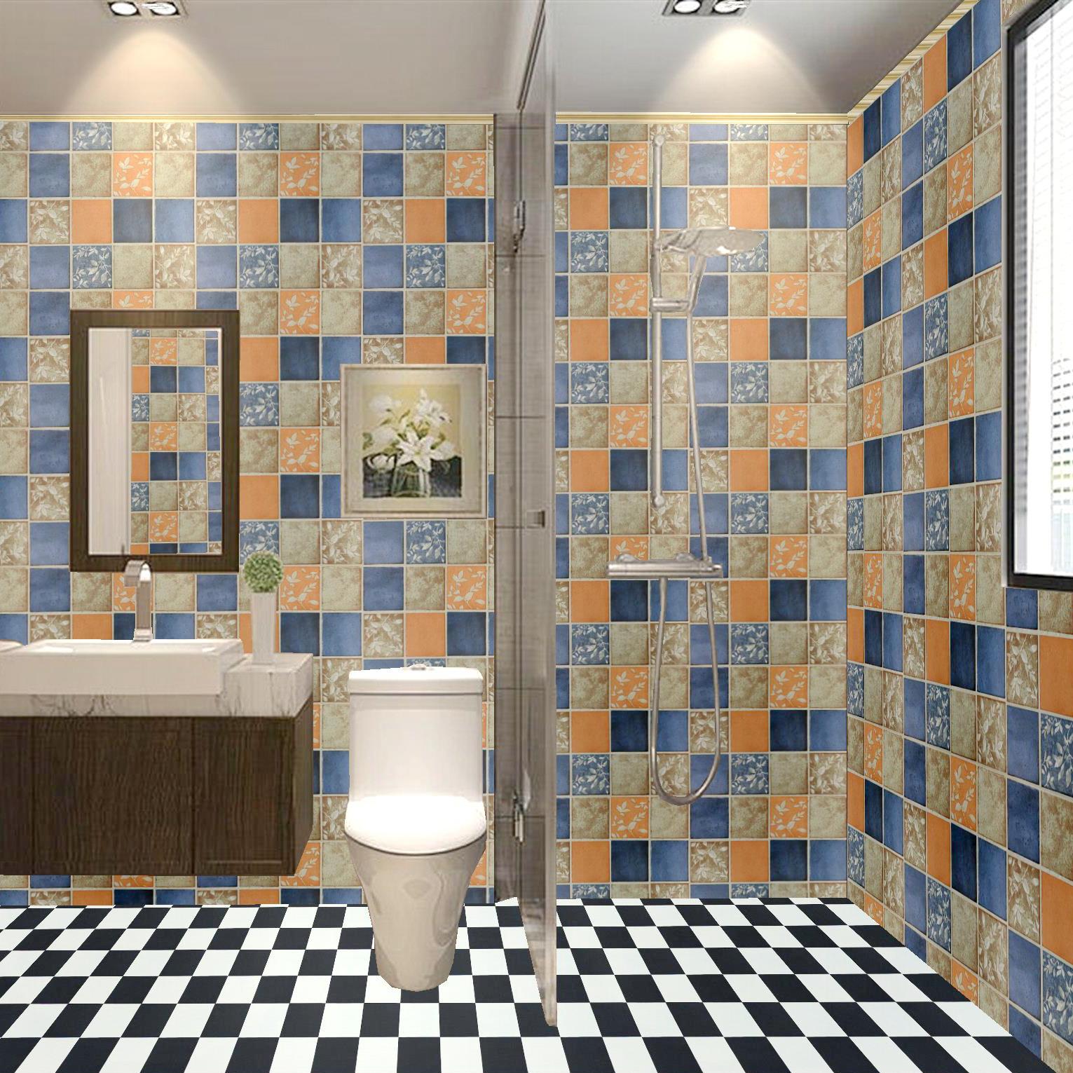 Papier Salle De Bain salle de bains imperméable stickers muraux autocollants huile preuve  cuisine treillis mosaïque auto-adhésif toilettes carrelage salle de bains  papier