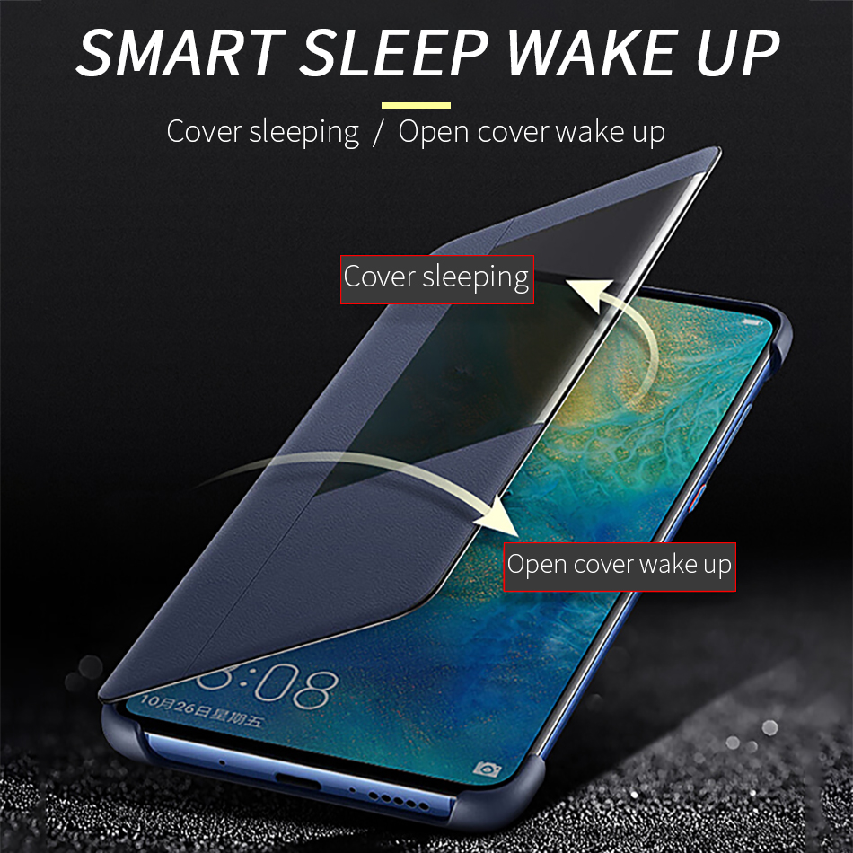 4Huawei mate 20 Flip Case Cover Official Huawei Mate 20 Pro case Smart View Window Luxury PU Leather Protective Wake up mate20