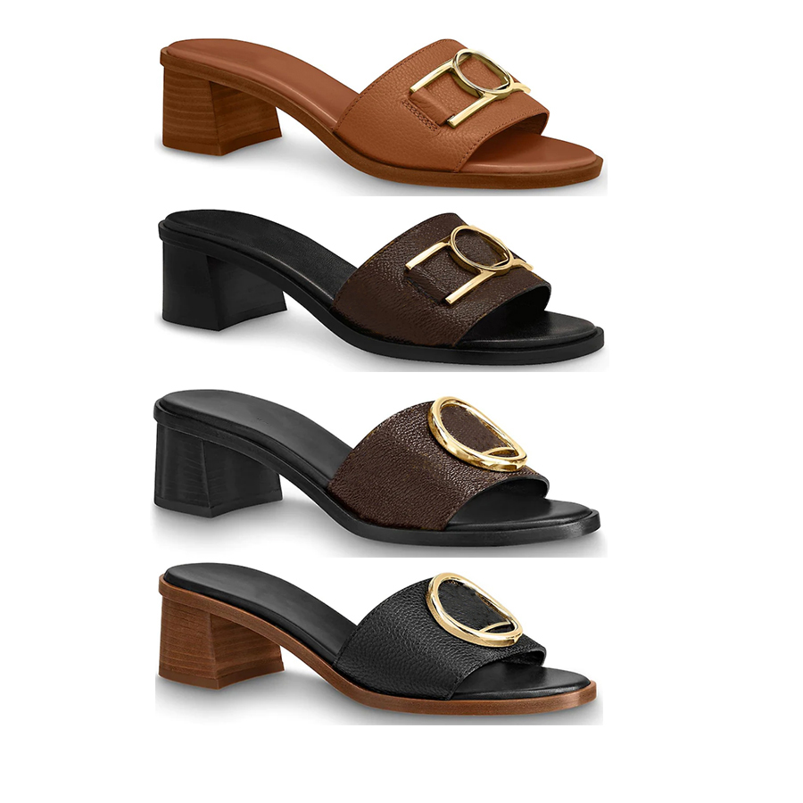 4.5cm calf leather outsole women lady girl gold-tone Circle buckle accessory Lock It mule mid heel chunky Slides Slipper Thong Sandal Shoes