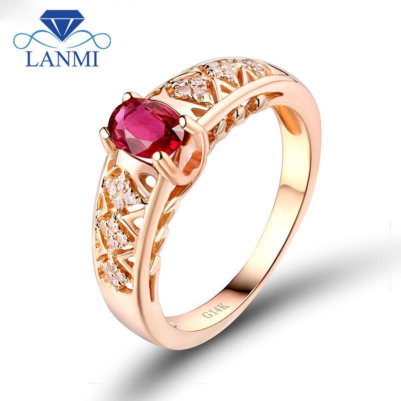 Vintage Véritable ovale rouge rubis halo Anneau Femmes Anniversaire 14K plaqué or rose