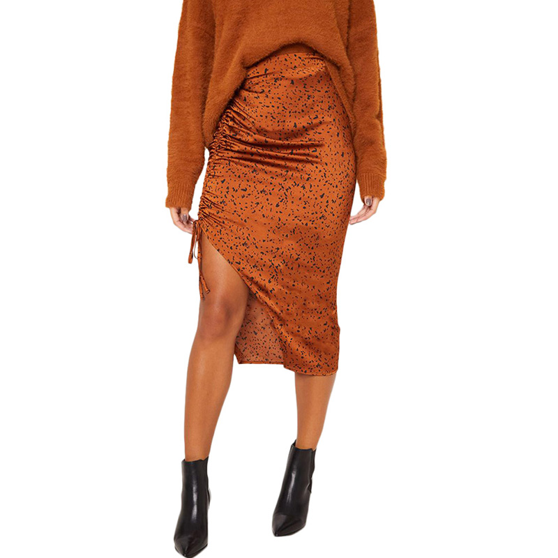 2019 Mode Coréenne Femmes Léopard Jupe Slim Wrap Asymétrique Bandage Côté Split Moulante Midi Jupes Taille Haute Crayon Jupe Dame