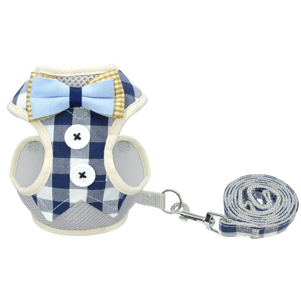 Bowknot Dog Cat Harness and Leash Set Plaid Breathable Puppy Harness Vest For Small Medium Dogs Cats Kitten Puppy Chihuahua
