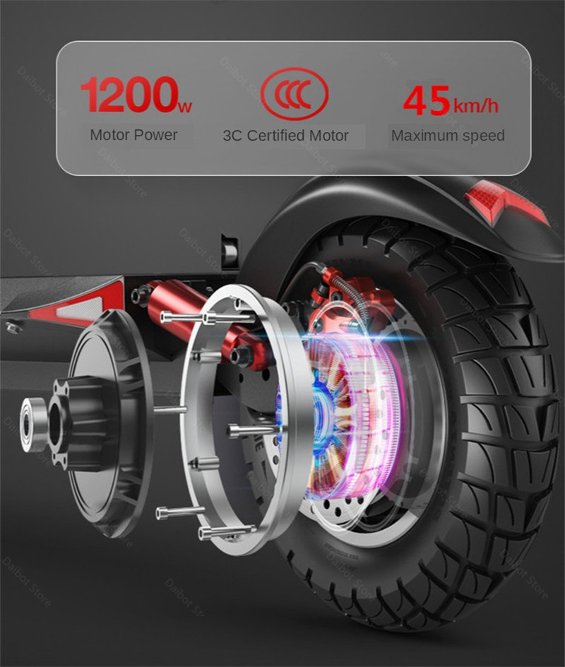 Double Drive Electric Scooter Off Road 2 Wheels Electric Scooters 10 Inch 48V 1200W 45KMH Folding Kick Scooter For Adult (31)