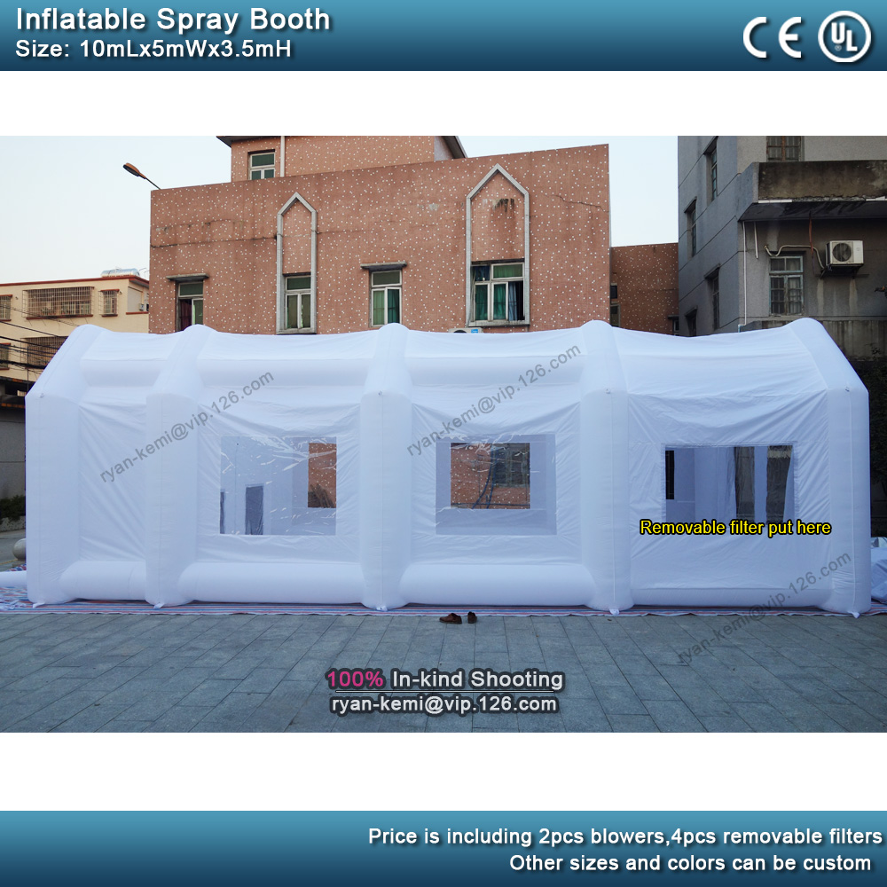 10m 5m 3.5m white Portable Paint Booths big inflatable Spray Booth For sale Inflatable Spray tent For Car Painting side view
