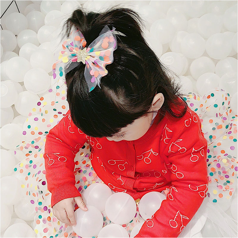 Boutique ins Fashion Cute Glitter Star Bow Hairpins Color Dot Print Big Mesh Bowknot Hair Clips Princess Hair Accessories