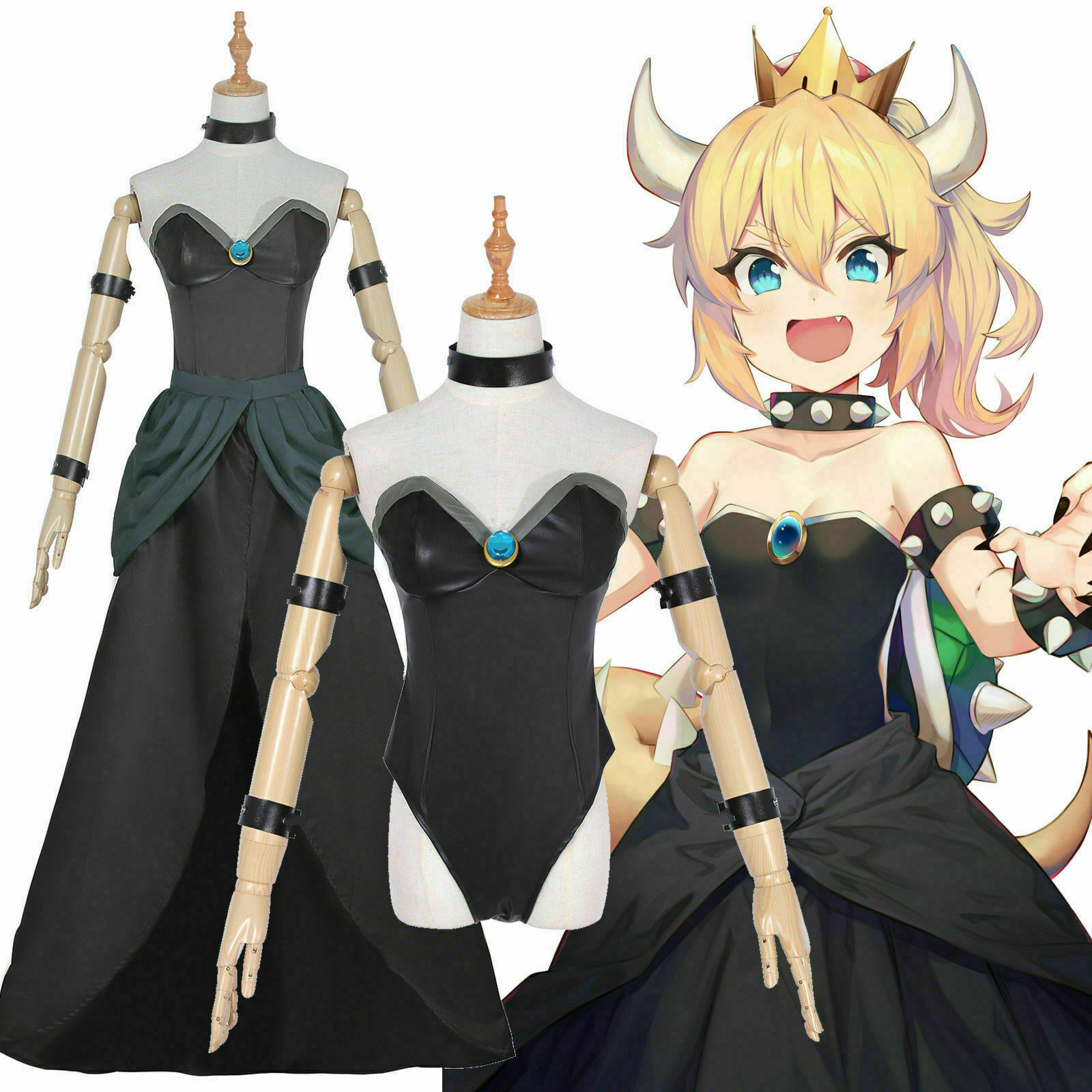Bowsette Princess Bowser Lace Luxary Dress Cosplay Costume Customeize