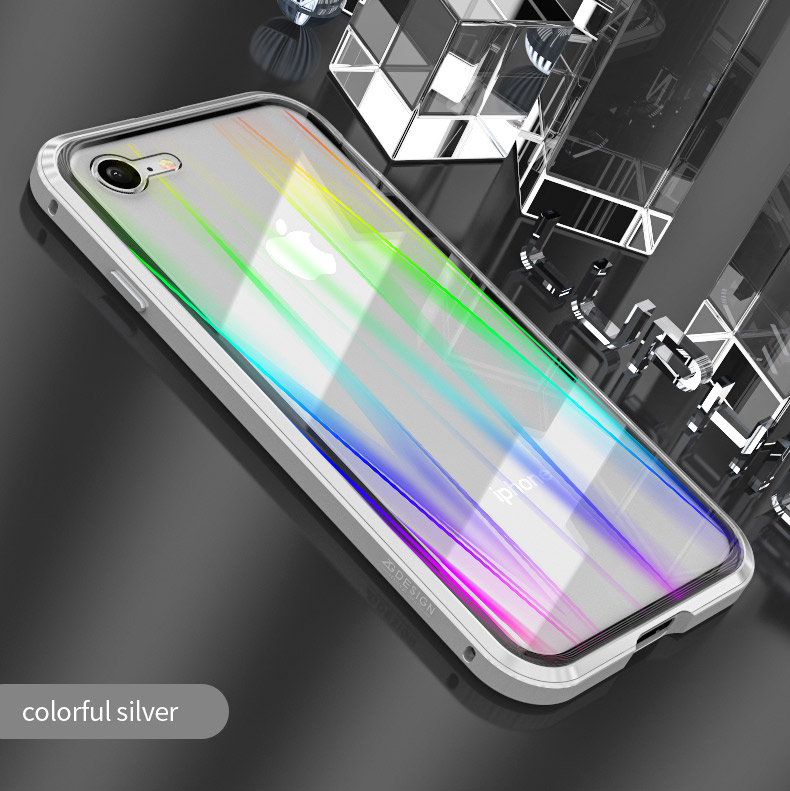LUPHIE Colorful Laser Aurora Case For iPhone X 8 7 Plus Luxury Glass Case (10)