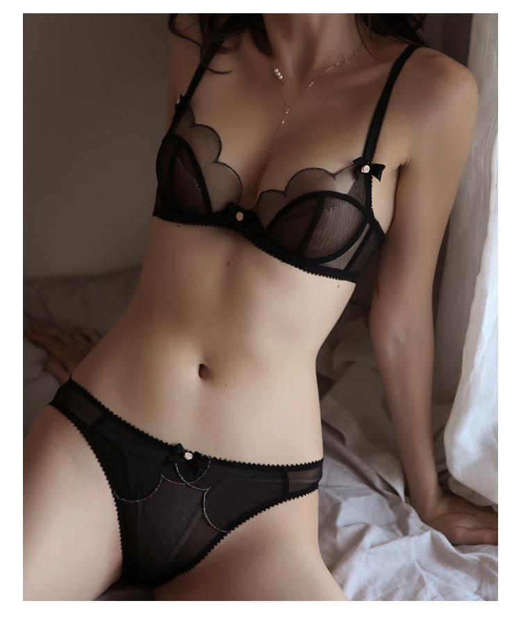 TERMEZY 2019 new Sexy Lace bar set ultra thin net gauze transparent Lingerie Set Push up brassier Fashion lace underwear (11)